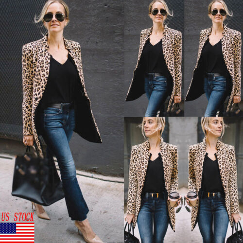 US Women Ladies Leopard Jacket Coats Zip Up Lapel Suit Casual Tops Coat Outwear