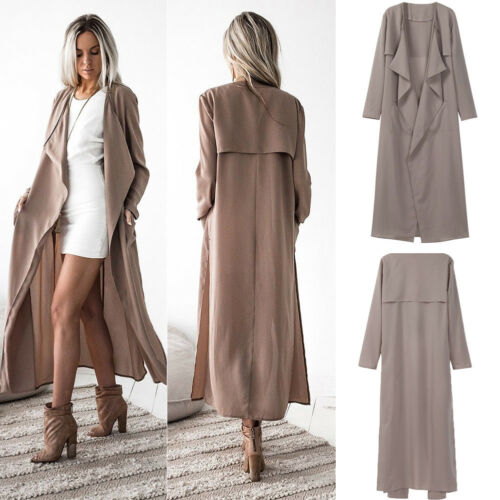 Women Cardigan Ladies Waterfall Jacket Coat Womens Long Maxi