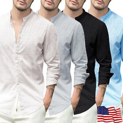 Casual Men Slim Fit Linen Shirt Button-Front Stand Collar Summer Cotton Shirt US Casual Button Front Shirt
