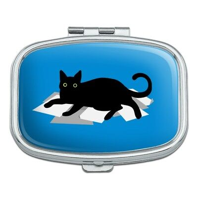 Black Cat Lying on Papers Rectangle Pill Case Trinket Gift Box