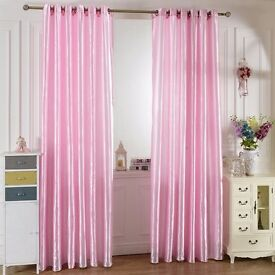 Gorgeous Pink Satin Window 2x Panels (Curtains) Individually wrapped