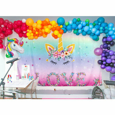 Unicorn Party Backdrop Magical Unicorn Kids Birthday Floral Unicorn Background (Unicorn Rainbows)
