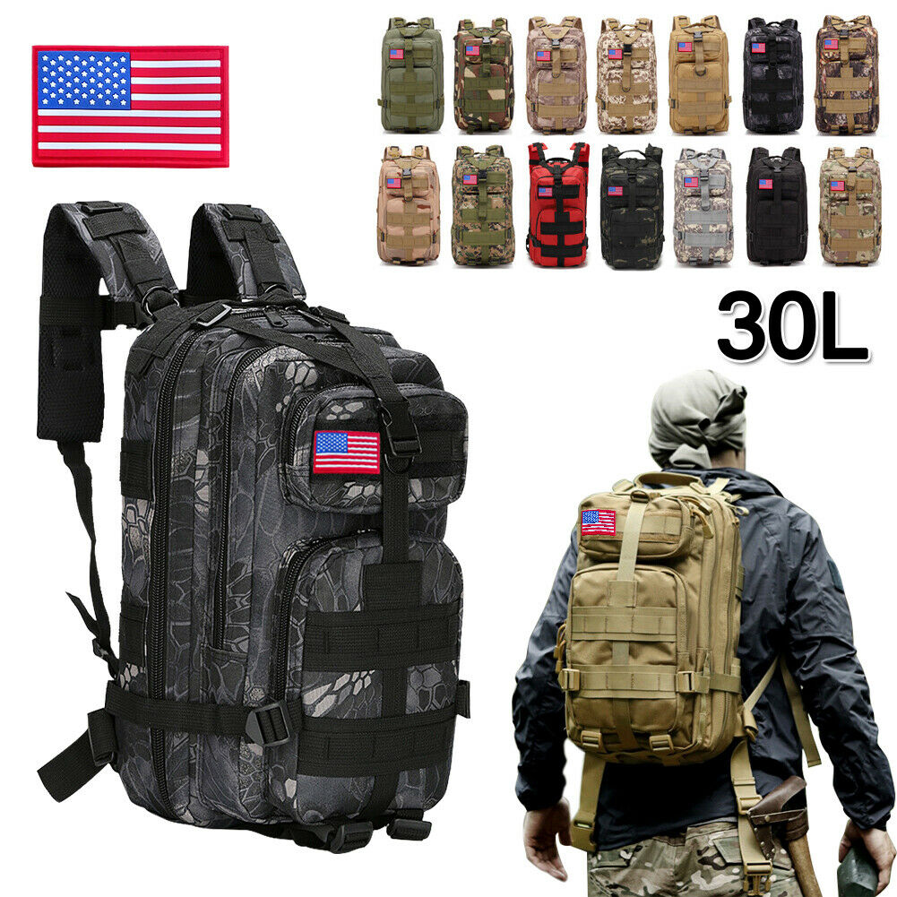 30L Military Tactical Rucksack Backpack Daypack Bag Hiking C