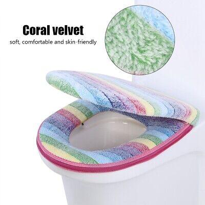 2pc/set Soft Coral Velvet Toilet Seat Lid Cover Set Rainbow Color Bathroom Decor ()