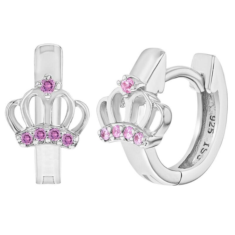 925 Sterling Silver Pink CZ Crown Princess Hoop Huggie Baby Girl Earrings 12mm