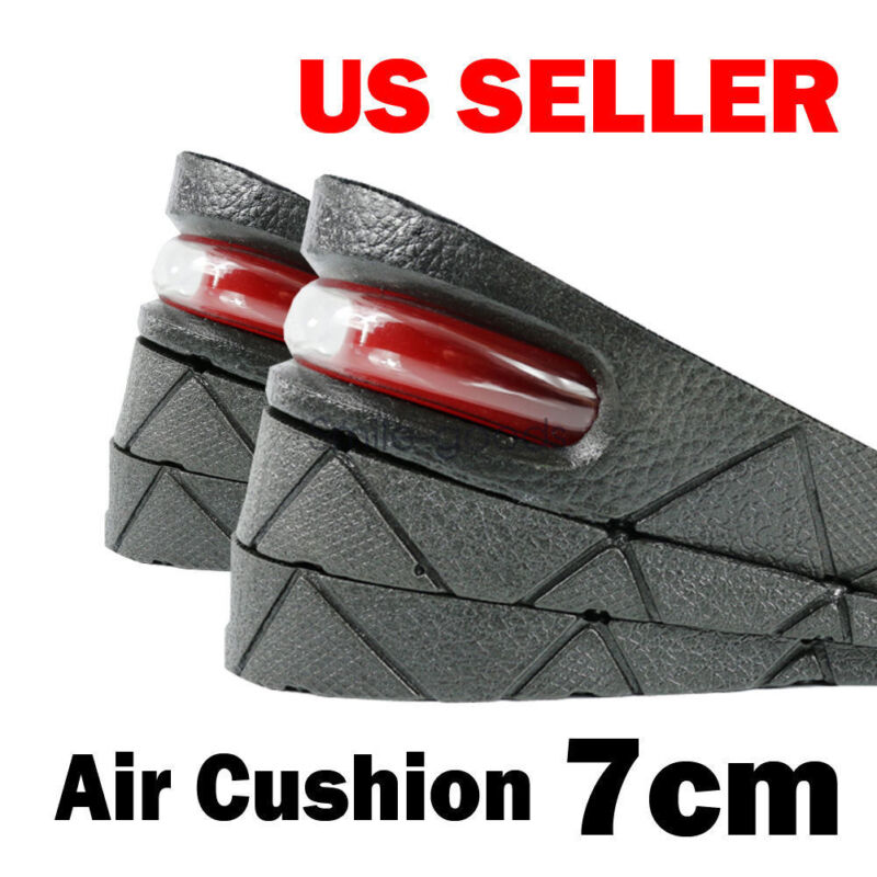 7cm Men Shoe Lift Insoles Air Cushion Heel insert Increase Taller Height 3-Layer