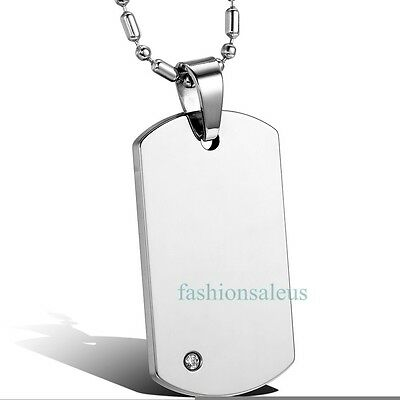Tungsten Mens Necklace (High Polished Tungsten Carbide Dog Tag Plain Engravable Pendant Men's Necklace)
