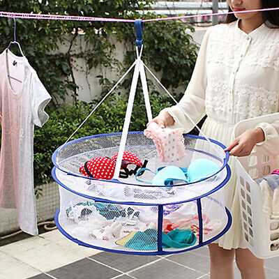 Foldable Double-layer Clothes Basket Drying Rack Hanging Laundry Hangers Mgic Home & Garden