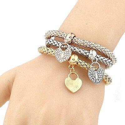 Women Fashion Love Bracelet Gold Silver RoseGold Rhinestone Bangle Charm Jewelry