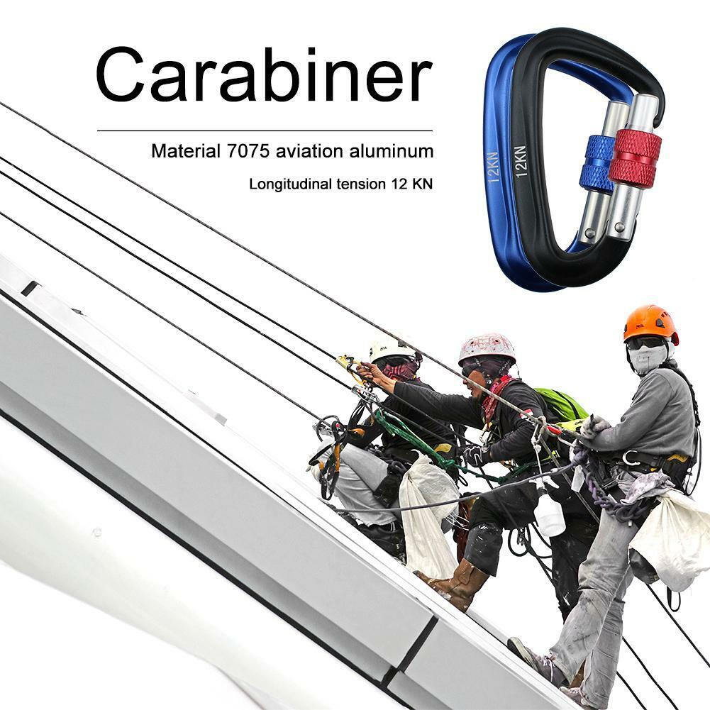 Carabiner D Shape 12KN Rock Climbing Buckle Security Safety