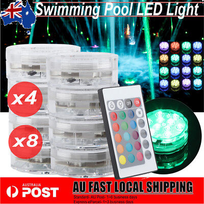 4/8X Swimming Pool Spa LED Underwater Light RGB 16 Color Remote Control AU Stock