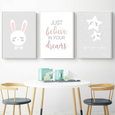 Nordic Cartoon Rabbit Star Wall Painting Poster Picture Kids Bedroom Decor New