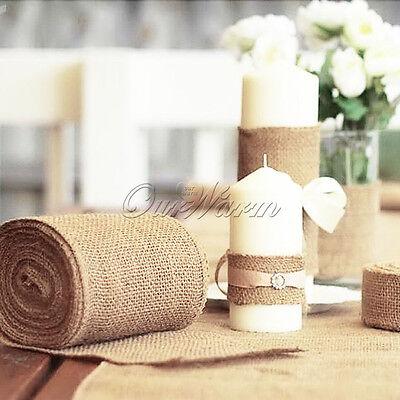 Diy Burlap Table Runner (Hessian Fabric Roll Table Runner Burlap Jute DIY Wedding table Chair Home)