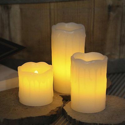 Set 3 Candele In Cera Con Luce LED Tremolante Bianco Caldo Profumate Vaniglia