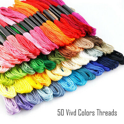 50pcs Multi DMC Colors Cross Stitch Cotton Embroidery Thread Floss Sewing Skeins Crafts