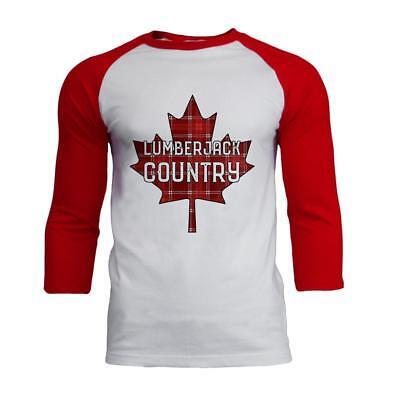 Canada Day Lumberjack Country Plaid Mens Soft Raglan T Shirt