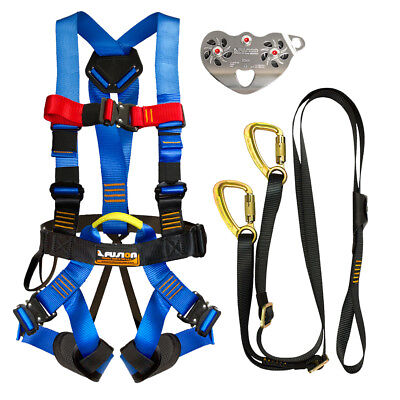 Fusion Pro Backyard Zip Line Kit Harness Lanyard Trolley Bundle FK-A-HLT-19
