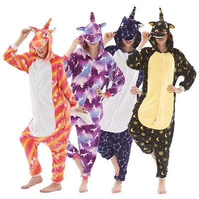 Einhorn Kostüm Erwachsene (Damen Einhorn Kostüm Erwachsene Tier Overalls Pyjama Kinder Schlafanzug Jumpsuit)