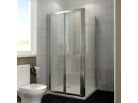 "760 x 760 mm Framed Bi fold - 6mm - Glass Screen Shower Enclosure £130. New Cost £250 ""BOXED"""
