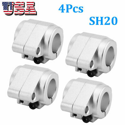 4pack Shf20 Aluminum Alloy Linear Bearing Rod Rail Shaft Support Cnc Route Parts