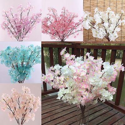 (CHIC Peach Blossom Cherry Plum Branch Silk Flowers Home Wedding Decor Bouquet)
