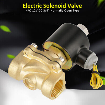 Dc12v 34 Brass Electric Solenoid Valve Normally Open 0-1mpa For Water Air Oil