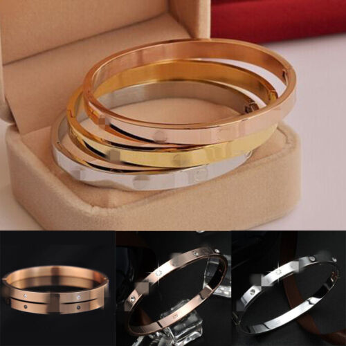 Bracelet - Fashion Gold-plated Stainless Steel Women's Cuff Bangle Jewelry Crystal Bracelet