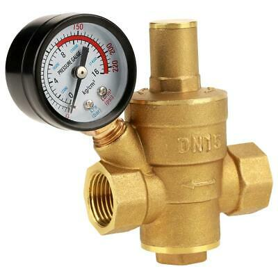 Dn15 Npt 12in Adjustable Brass Water Pressure Regulator Reducer Wgauge Meter