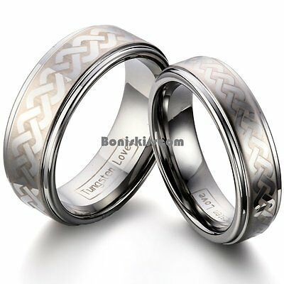 Laser Link Celtic Knot Design Ridged Edges Comfort Fit Tungsten Carbide (Celtic Knot Design Ring)