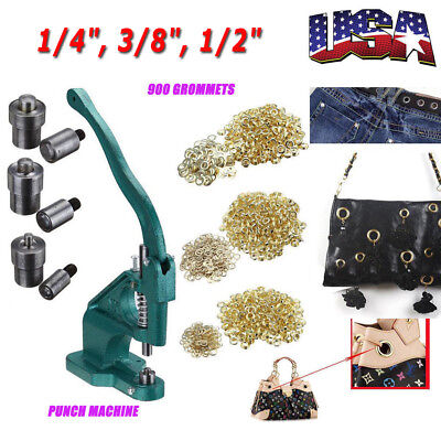 Us 900pcs Grommets Eyelet Banner Hole Punch Machine Hand Press 6mm 9mm 12mm Dies