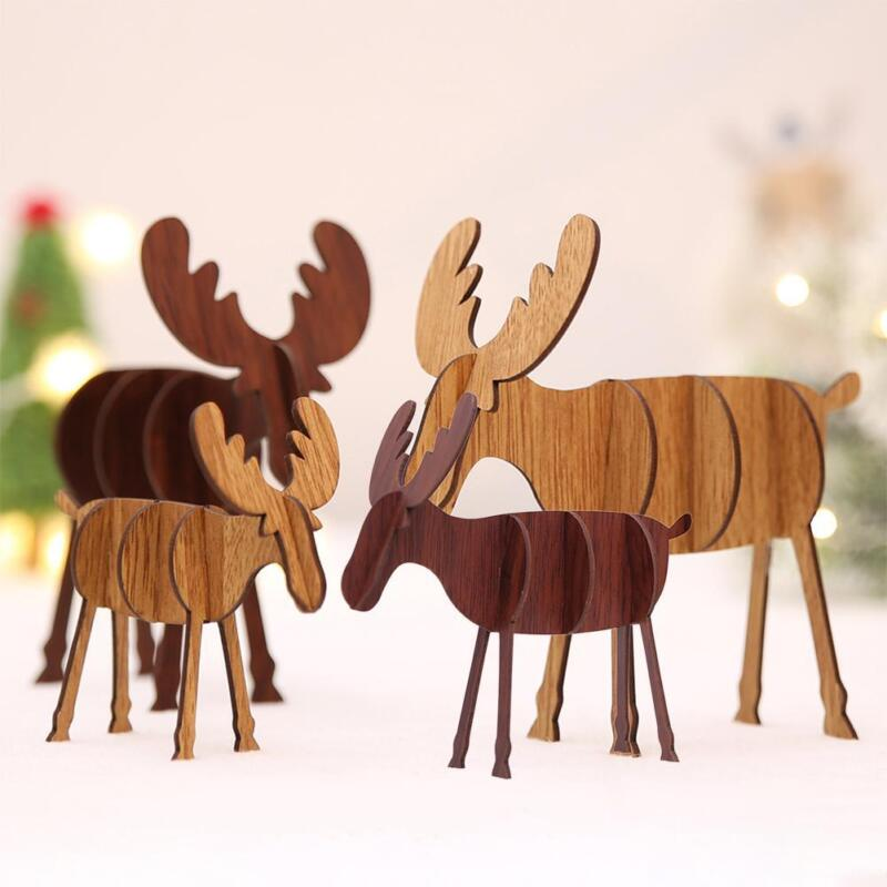 Wood Christmas Elk Deer Ornaments Xmas Tree Hanging Decorati