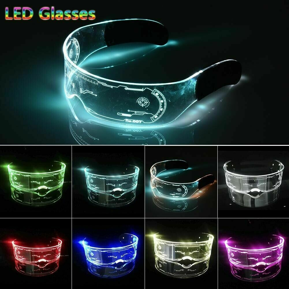 Cyberpunk Clear Lenses 7 Color LED Light Visor Glasses Goggles 4 Halloween Party Clothing, Shoes & Accessories