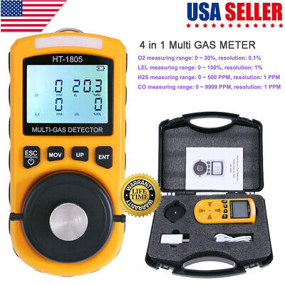 4 in 1 Gas Detector CO O2 H2S Oxygen LEL Gas Accurate Monitor Analyzer Test Tool 4in 1 Test Tools