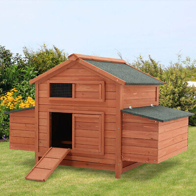 LARGE WOODEN CHICKEN COOP RUN HEN HOUSE POULTRY NEST BOX COOPS RABBIT HUTCH