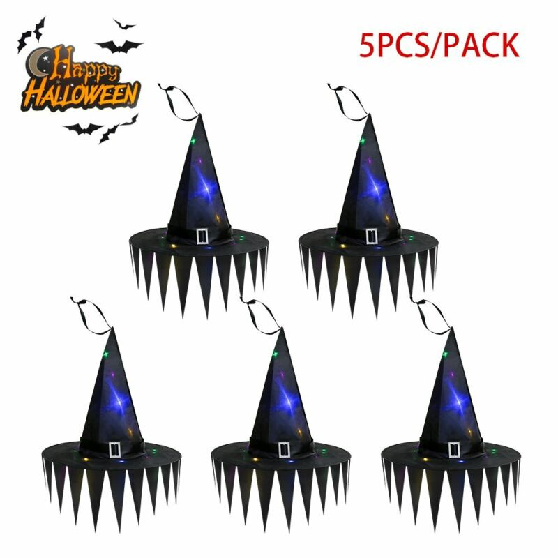5Pc+Christmas+Witch+LED+Glowing+Hat+Costume+Party+Hanging+Home+Decor+Fancy+Dress