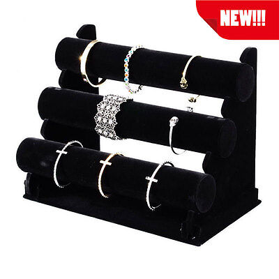 Newest 3 Tier Black Velvet Jewelry Bracelet Watch Show Display Rack Holder Stand