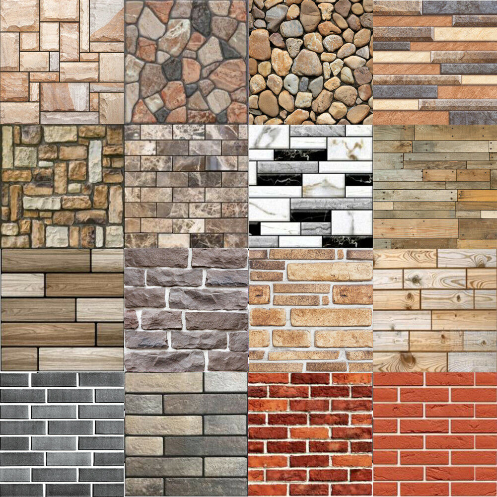 Home Decoration - Rustic 3D Wall Decals Geometry Brick Stone Self-Adhesive Wall Sticker Decor Gift