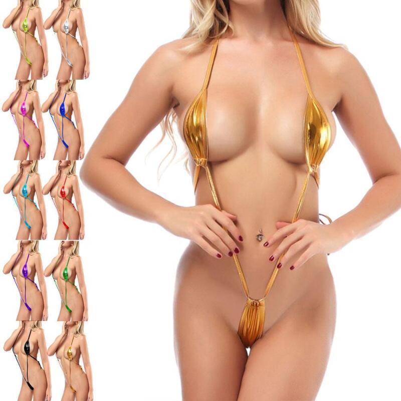 Women Swimwear Micro Bikini Bra Mini V-string Thong Slingshot Monokini One Piece
