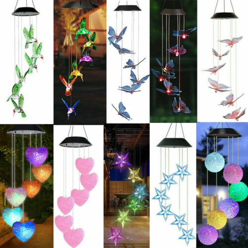 Solar Color Changing LED Wind Chime Garden Yard Hanging Light Walkway Lamp Decor