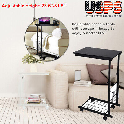 Desk Laptop Cart Rolling Computer Table Notebook Stand Tray Adjustable W Wheel