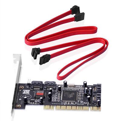 PCI Karte> 4 x intern SATA ATA mit RAID Erweiterung 4x SATA intern I/O PC+Kabel