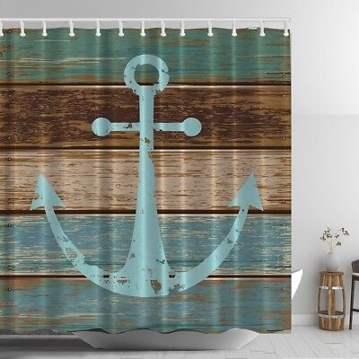 Rustic Old Anchor Graphic Shower Curtain Wooden Deck Beach Nautical Bath Decor - Nautical Shower Curtains