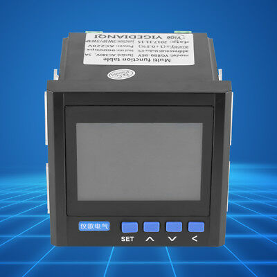 Multifunction 3-phase Electric Current Frequency Power Monitor V A Hz Kwh Rs485