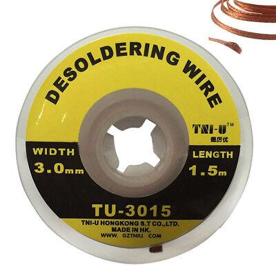 5ft 1.5m 3mm Braid Solder Remover Wick Soldering Welding Desoldering Wire Copper