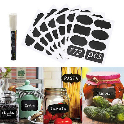 112Pc Chalkboard Blackboard Chalk Stickers Mason Jar Label White Marker Erasable