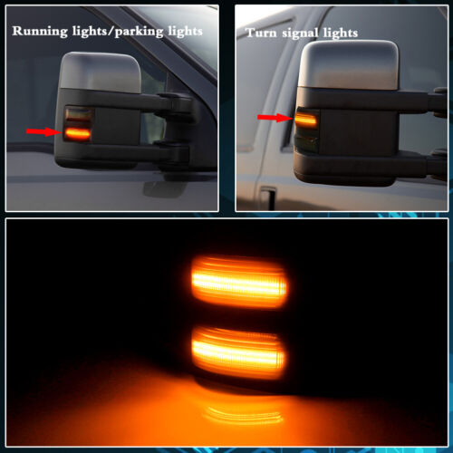 TurningMax Smoked Lens Amber Light Side Mirror Light Marker For 2008-2016 Ford F250 F350 F450
