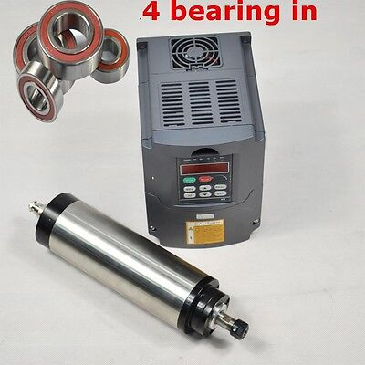80mm 1.5kw Water Cooled Spindle Motor Er16 Four Bearing Vfd Drive Inverter Cnc