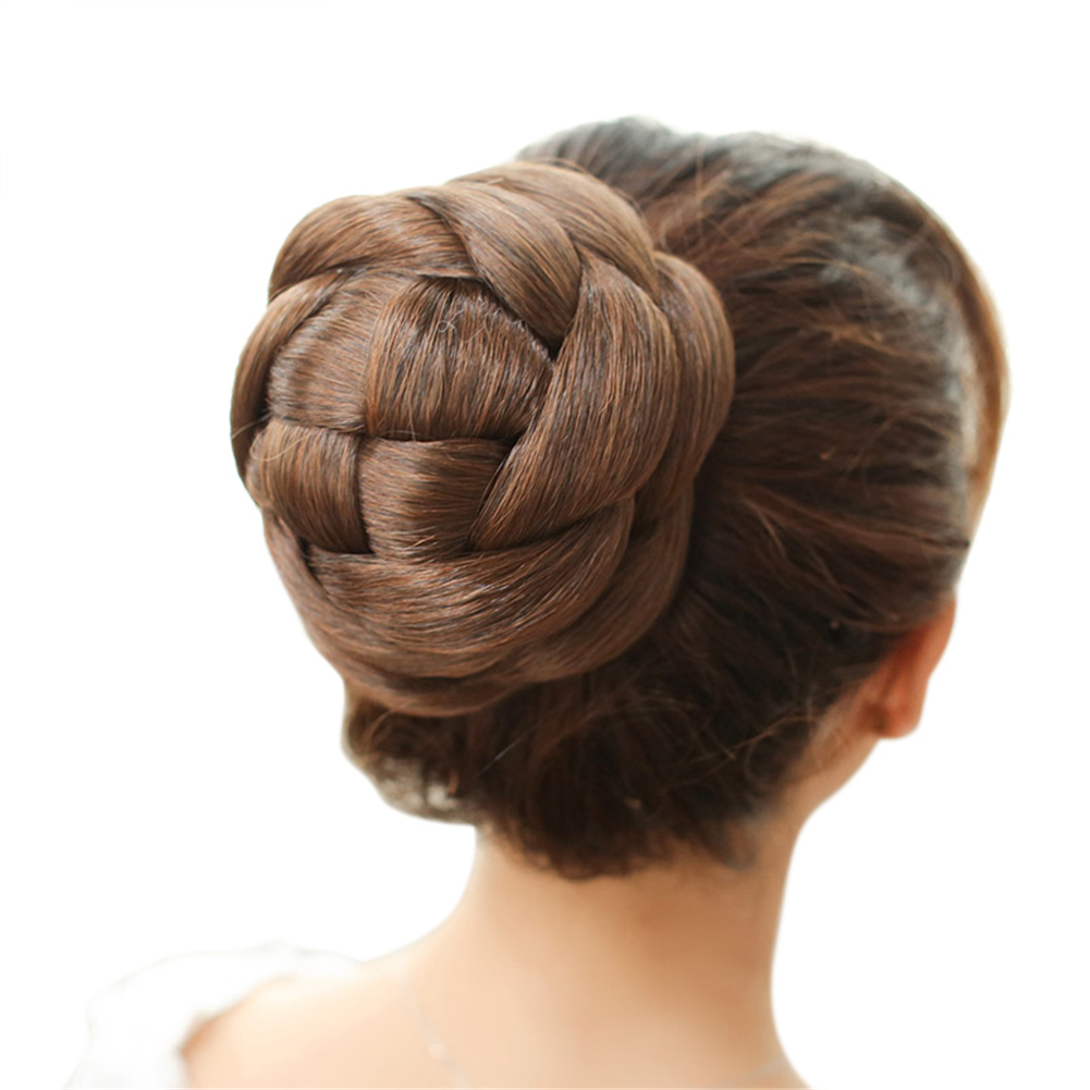 Braided Hair Bun Extensions Synthetic Clip-on Updo Hair Piec