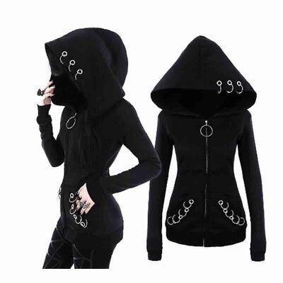 Gothic Women's Girls Punk Solid Hooded Sweat Hoodies Jacket Coat Cosplay Black