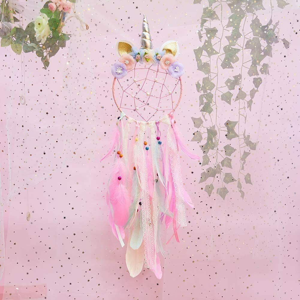 Pink Dream Catcher Purple Flower Feather Pendant Wall Hanging for Car Home horn Collectibles